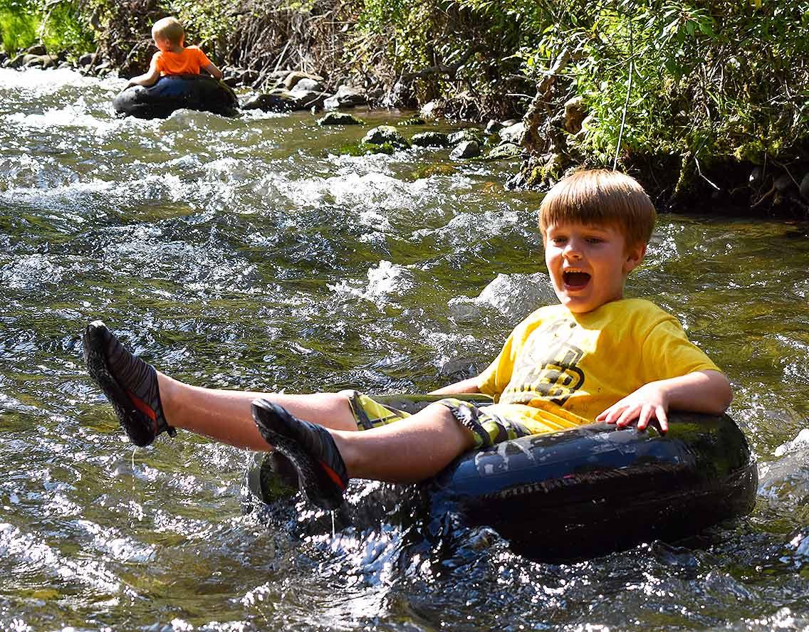Camper in a creek